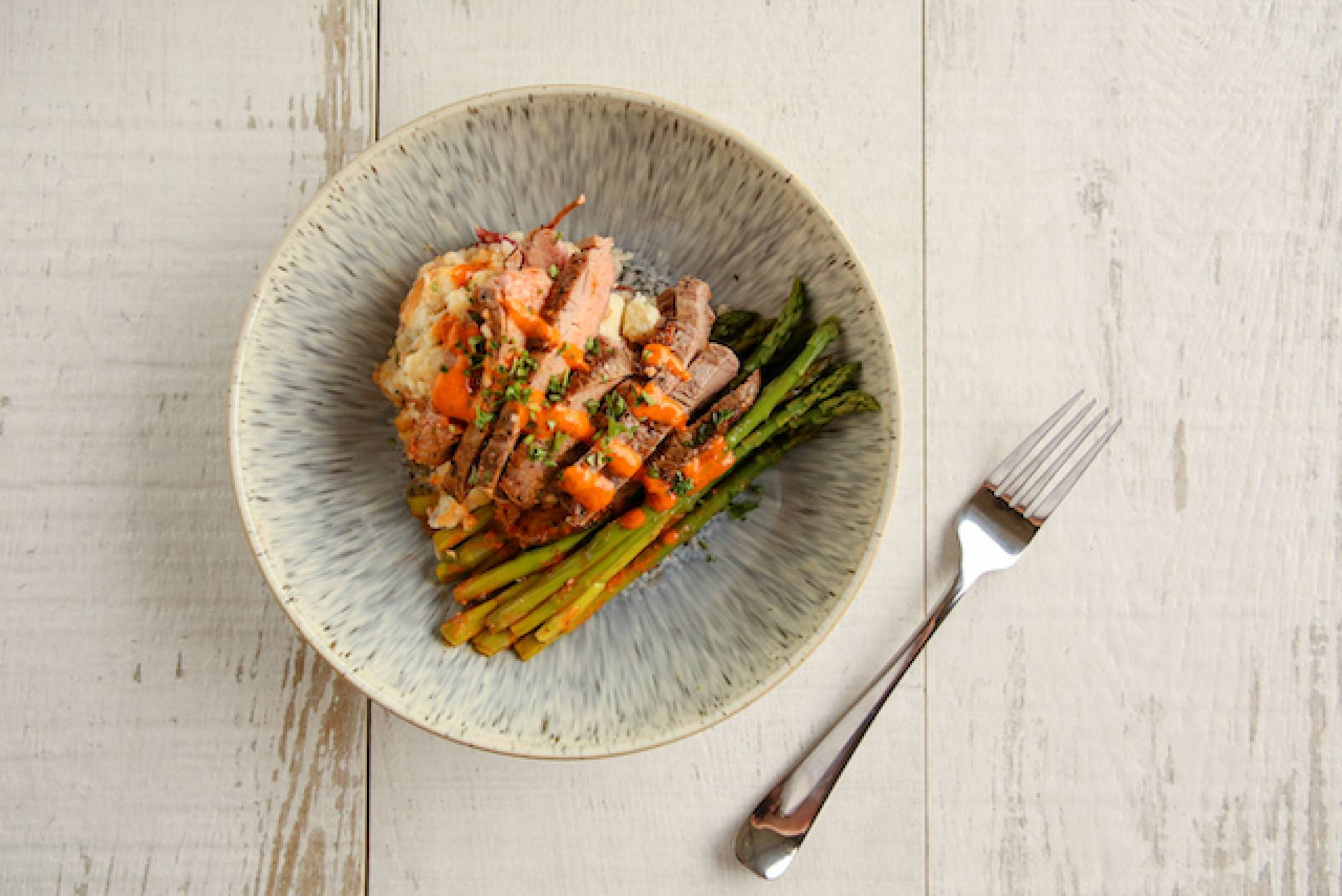 Flank with Asparagus and Mashed Red Potato